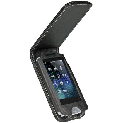 iGadgitz Black Genuine Leather Case Cover for Sony Walkman NWZ-A865 Series Video MP3 Player (NWZ-A865B, NWZ-A865W) Preview